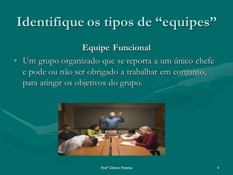 Profª Denise Ferreira4 Identifique os tipos de equipes Equipe Funcional Um grupo organizado que se reporta a um único chefe e pode ou não ser obrigado