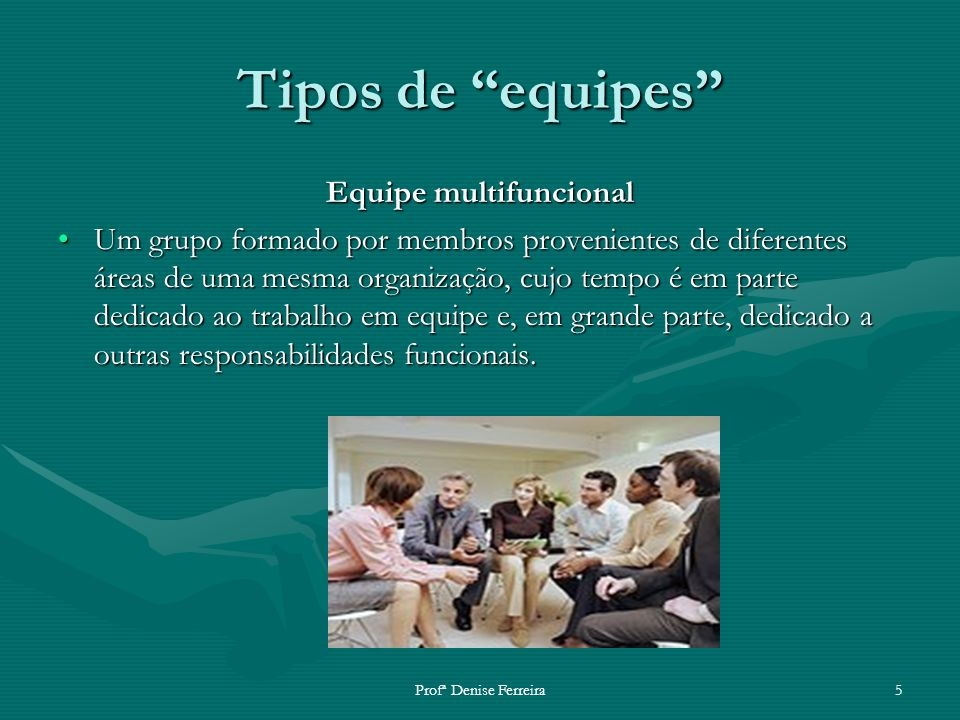Profª Denise Ferreira5 Tipos de equipes Equipe multifuncional Um grupo formado por membros provenientes de diferentes áreas de uma mesma organização,