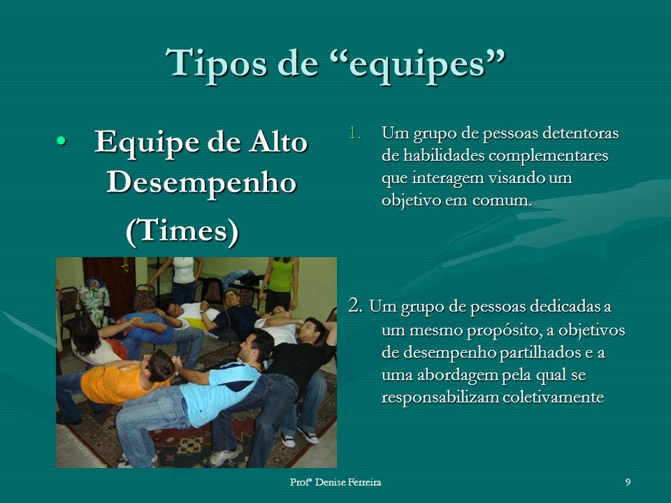 Profª Denise Ferreira9 Tipos de equipes Equipe de Alto DesempenhoEquipe de Alto Desempenho(Times) 1.Um grupo de pessoas detentoras de habilidades comp
