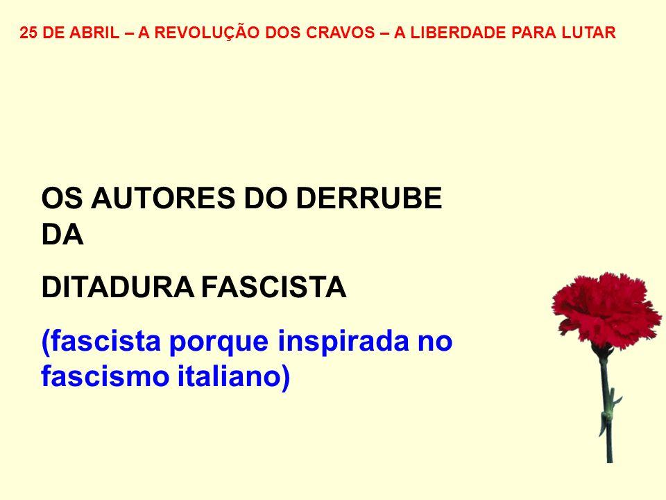 25 DE ABRIL – A REVOLUÇÃO DOS CRAVOS – A LIBERDADE PARA LUTAR OS AUTORES DO DERRUBE DA DITADURA FASCISTA (fascista porque inspirada no fascismo italia