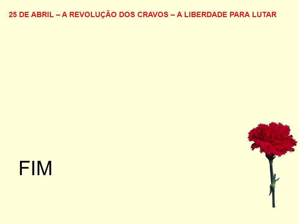 25 DE ABRIL – A REVOLUÇÃO DOS CRAVOS – A LIBERDADE PARA LUTAR FIM