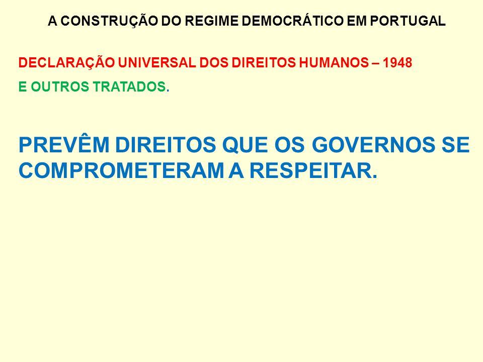 A CONSTRUÇÃO DO REGIME DEMOCRÁTICO EM PORTUGAL DECLARAÇÃO UNIVERSAL DOS DIREITOS HUMANOS – 1948 E OUTROS TRATADOS. PREVÊM DIREITOS QUE OS GOVERNOS SE