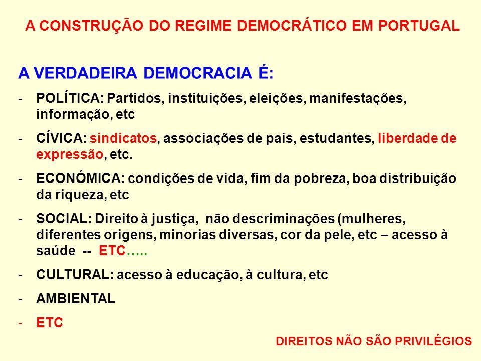 A CONSTRUÇÃO DO REGIME DEMOCRÁTICO EM PORTUGAL A VERDADEIRA DEMOCRACIA É: -POLÍTICA: Partidos, instituições, eleições, manifestações, informação, etc -CÍVICA: sindicatos, associações de pais, estudantes, liberdade de expressão, etc.