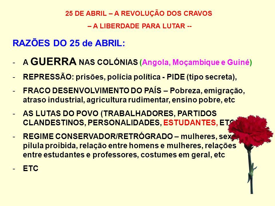 25 DE ABRIL – A REVOLUÇÃO DOS CRAVOS – A LIBERDADE PARA LUTAR -- RAZÕES DO 25 de ABRIL: -A GUERRA NAS COLÓNIAS (Angola, Moçambique e Guiné) -REPRESSÃO: prisões, polícia política - PIDE (tipo secreta), -FRACO DESENVOLVIMENTO DO PAÍS – Pobreza, emigração, atraso industrial, agricultura rudimentar, ensino pobre, etc -AS LUTAS DO POVO (TRABALHADORES, PARTIDOS CLANDESTINOS, PERSONALIDADES, ESTUDANTES, ETC) -REGIME CONSERVADOR/RETRÓGRADO – mulheres, sexo, pilula proibida, relação entre homens e mulheres, relações entre estudantes e professores, costumes em geral, etc -ETC