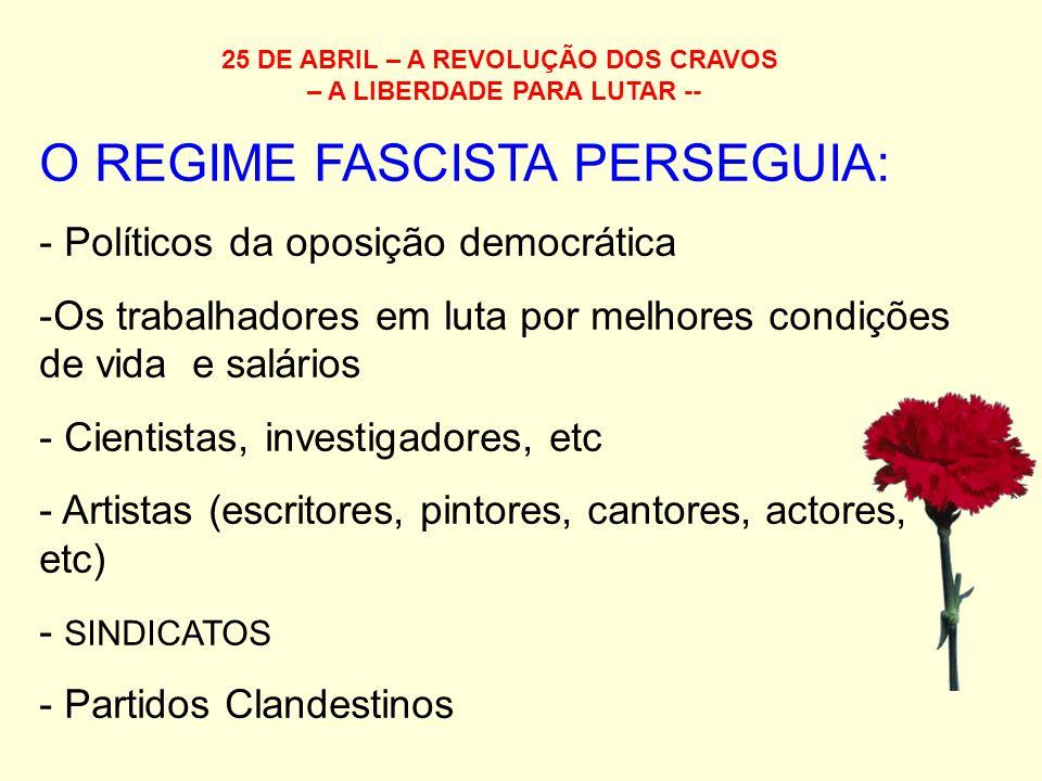 25 DE ABRIL – A REVOLUÇÃO DOS CRAVOS – A LIBERDADE PARA LUTAR -- O REGIME FASCISTA PERSEGUIA: - Políticos da oposição democrática -Os trabalhadores em