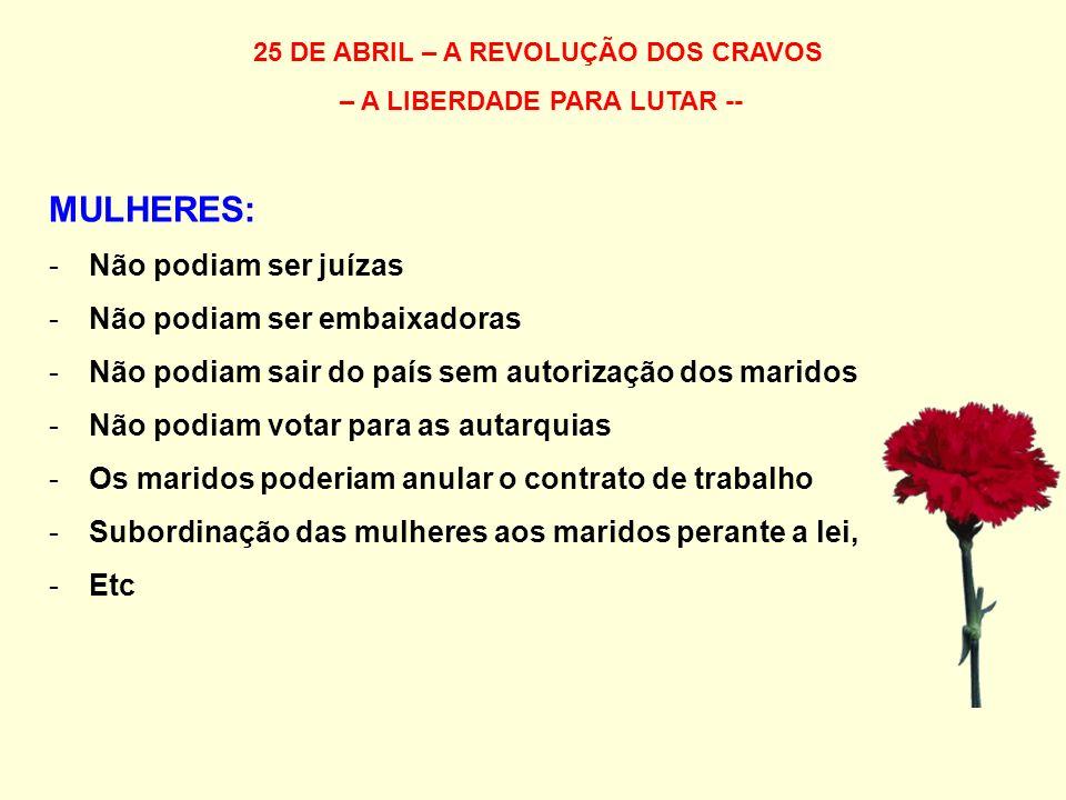 25 DE ABRIL – A REVOLUÇÃO DOS CRAVOS – A LIBERDADE PARA LUTAR -- MULHERES: -Não podiam ser juízas -Não podiam ser embaixadoras -Não podiam sair do paí