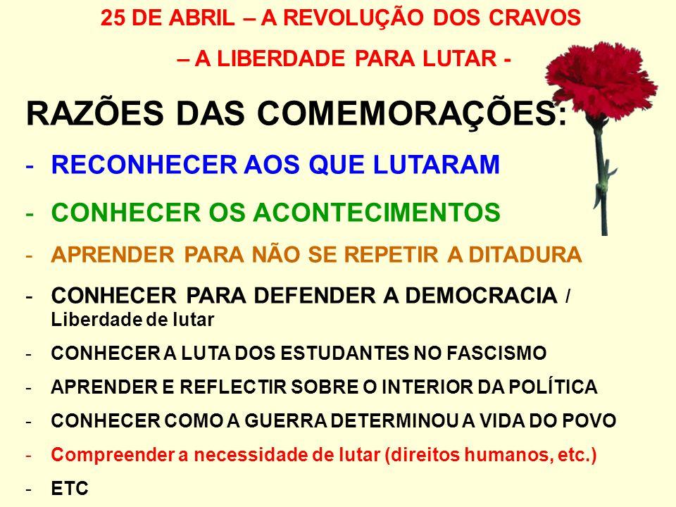 25 DE ABRIL – A REVOLUÇÃO DOS CRAVOS – A LIBERDADE PARA LUTAR - RAZÕES DAS COMEMORAÇÕES: -RECONHECER AOS QUE LUTARAM -CONHECER OS ACONTECIMENTOS -APRENDER PARA NÃO SE REPETIR A DITADURA -CONHECER PARA DEFENDER A DEMOCRACIA / Liberdade de lutar -CONHECER A LUTA DOS ESTUDANTES NO FASCISMO -APRENDER E REFLECTIR SOBRE O INTERIOR DA POLÍTICA -CONHECER COMO A GUERRA DETERMINOU A VIDA DO POVO -Compreender a necessidade de lutar (direitos humanos, etc.) -ETC