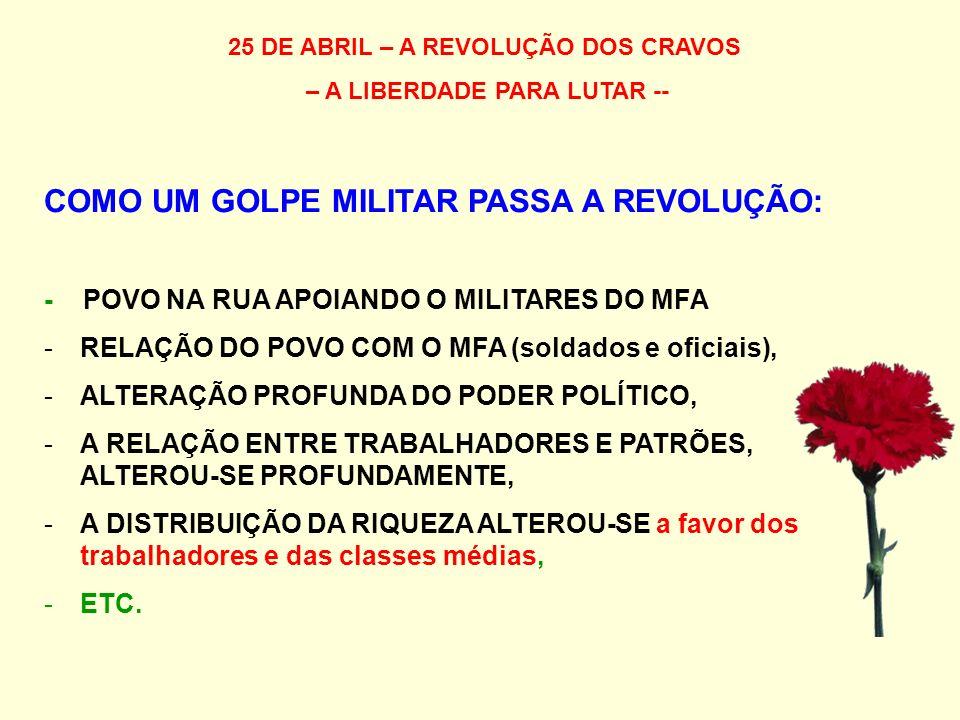 25 DE ABRIL – A REVOLUÇÃO DOS CRAVOS – A LIBERDADE PARA LUTAR -- COMO UM GOLPE MILITAR PASSA A REVOLUÇÃO: - POVO NA RUA APOIANDO O MILITARES DO MFA -RELAÇÃO DO POVO COM O MFA (soldados e oficiais), -ALTERAÇÃO PROFUNDA DO PODER POLÍTICO, -A RELAÇÃO ENTRE TRABALHADORES E PATRÕES, ALTEROU-SE PROFUNDAMENTE, -A DISTRIBUIÇÃO DA RIQUEZA ALTEROU-SE a favor dos trabalhadores e das classes médias, -ETC.