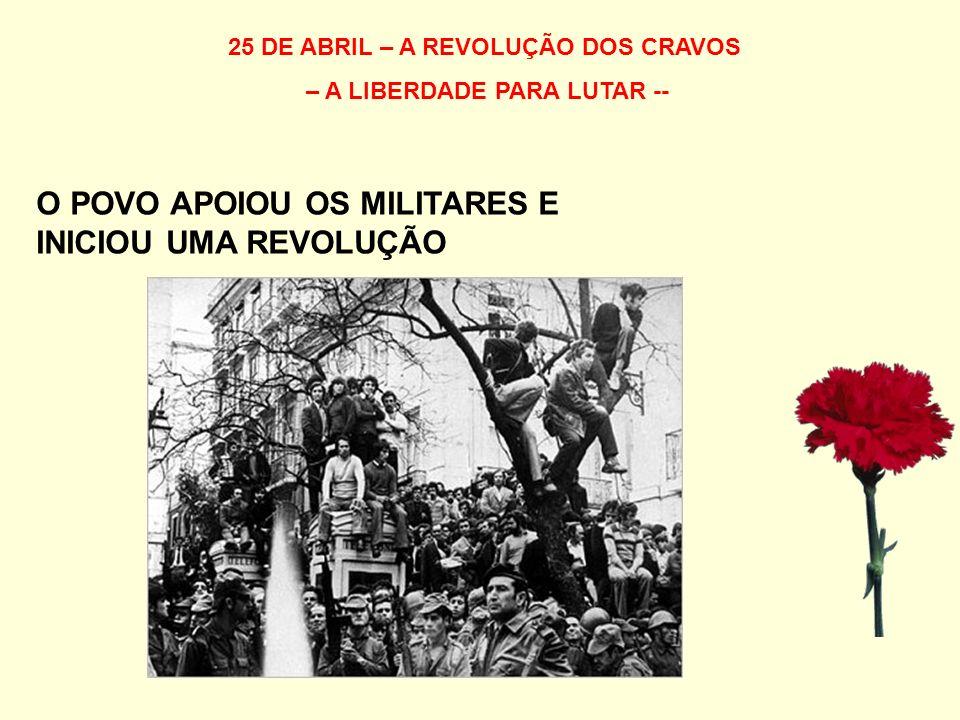 25 DE ABRIL – A REVOLUÇÃO DOS CRAVOS – A LIBERDADE PARA LUTAR -- O POVO APOIOU OS MILITARES E INICIOU UMA REVOLUÇÃO