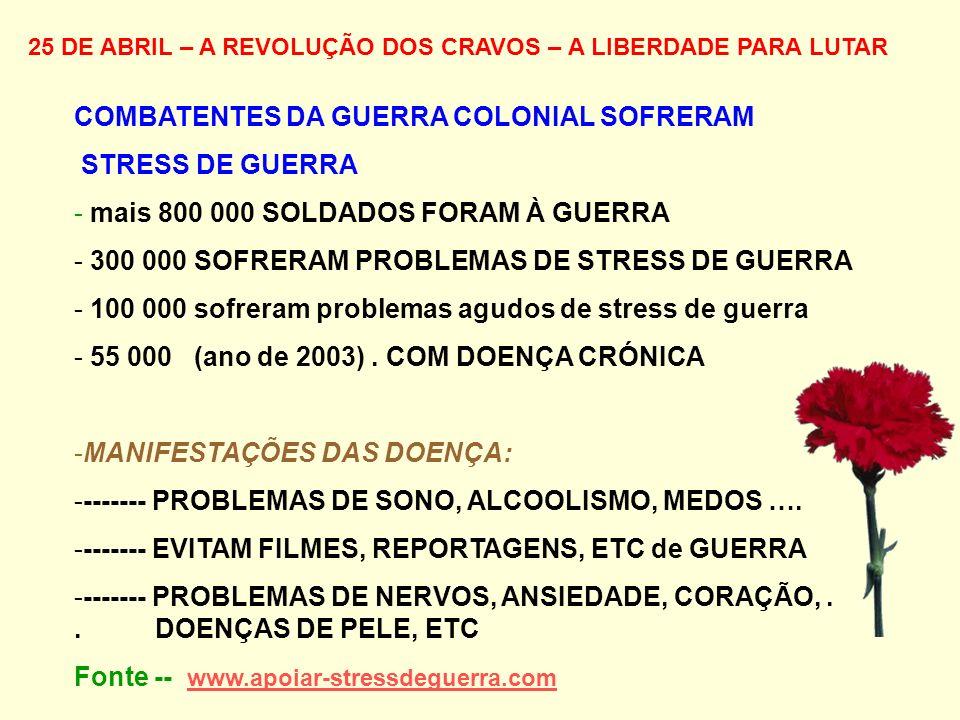 25 DE ABRIL – A REVOLUÇÃO DOS CRAVOS – A LIBERDADE PARA LUTAR COMBATENTES DA GUERRA COLONIAL SOFRERAM STRESS DE GUERRA - mais 800 000 SOLDADOS FORAM À GUERRA - 300 000 SOFRERAM PROBLEMAS DE STRESS DE GUERRA - 100 000 sofreram problemas agudos de stress de guerra - 55 000 (ano de 2003).