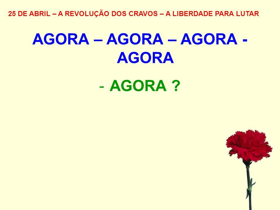 25 DE ABRIL – A REVOLUÇÃO DOS CRAVOS – A LIBERDADE PARA LUTAR AGORA – AGORA – AGORA - AGORA -AGORA ?
