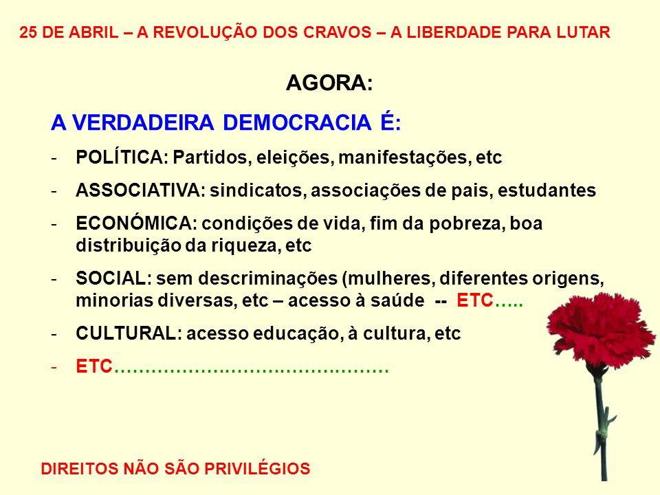 25 DE ABRIL – A REVOLUÇÃO DOS CRAVOS – A LIBERDADE PARA LUTAR AGORA: A VERDADEIRA DEMOCRACIA É: -POLÍTICA: Partidos, eleições, manifestações, etc -ASS