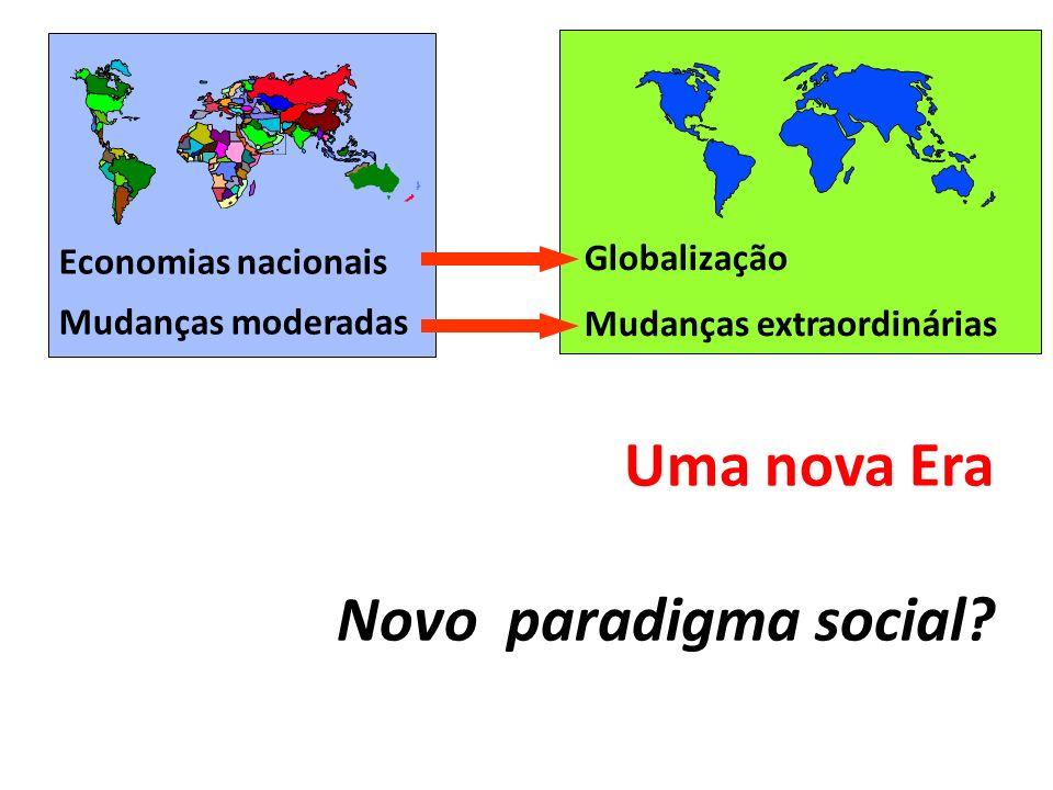 Uma nova Era Novo paradigma social? Economias nacionais Mudanças moderadas Globalização Mudanças extraordinárias
