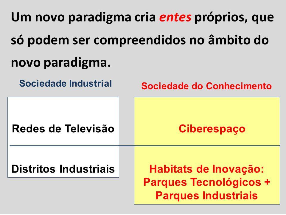 Um novo paradigma cria entes próprios, que só podem ser compreendidos no âmbito do novo paradigma. Redes de Televisão Distritos Industriais Ciberespaç