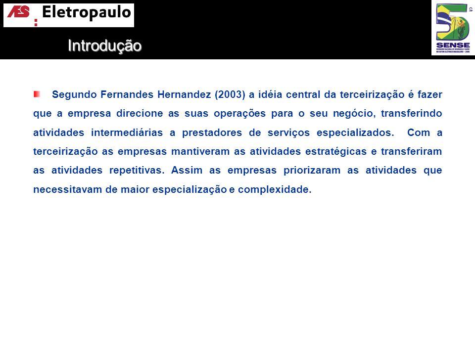 Segundo Fernandes Hernandez (2003) a idéia central da terceirização é fazer que a empresa direcione as suas operações para o seu negócio, transferindo
