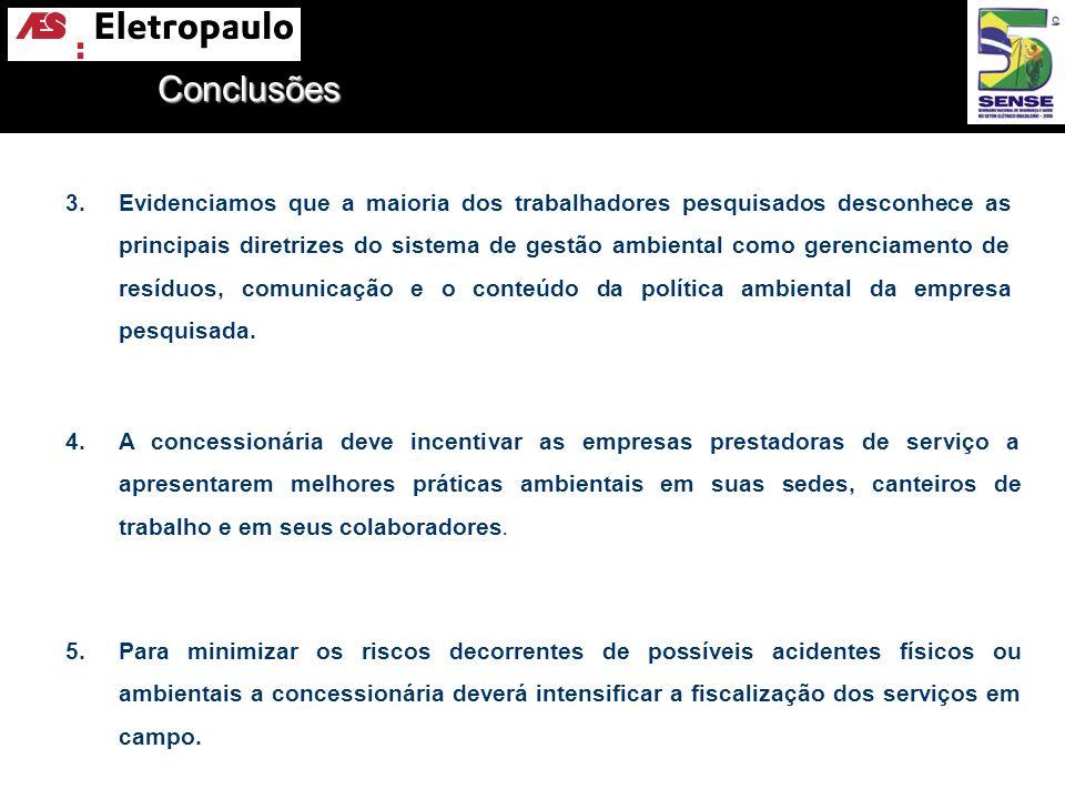 Conclusões 4.A concessionária deve incentivar as empresas prestadoras de serviço a apresentarem melhores práticas ambientais em suas sedes, canteiros