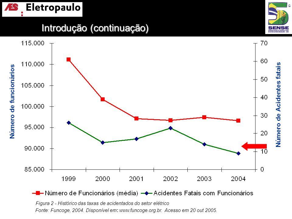 Introdução (continuação) Figura 2 - Histórico das taxas de acidentados do setor elétrico Fonte: Funcoge, 2004. Disponível em: www.funcoge.org.br. Aces