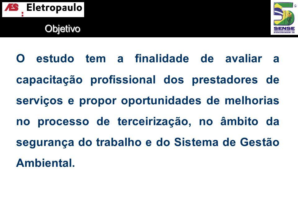 Objetivo O estudo tem a finalidade de avaliar a capacitação profissional dos prestadores de serviços e propor oportunidades de melhorias no processo d
