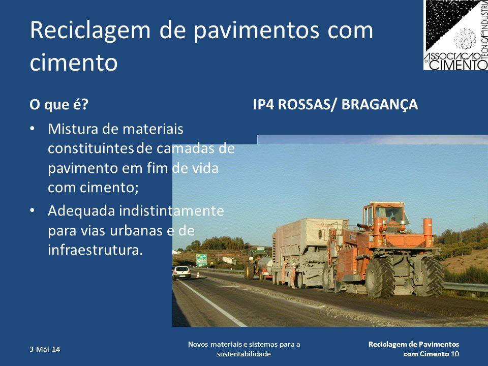Reciclagem de pavimentos com cimento O que é?IP4 ROSSAS/ BRAGANÇA 3-Mai-14 Novos materiais e sistemas para a sustentabilidade Reciclagem de Pavimentos