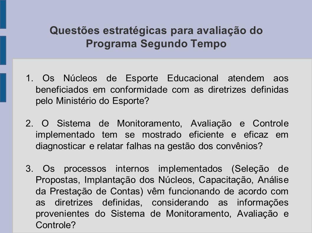 Questões estratégicas para avaliação do Programa Segundo Tempo 1. Os Núcleos de Esporte Educacional atendem aos beneficiados em conformidade com as di