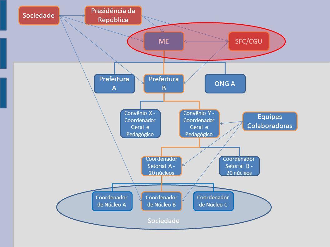 ME Prefeitura A Prefeitura B ONG A Convênio X - Coordenador Geral e Pedagógico Coordenador Setorial B - 20 núcleos Coordenador Setorial A - 20 núcleos
