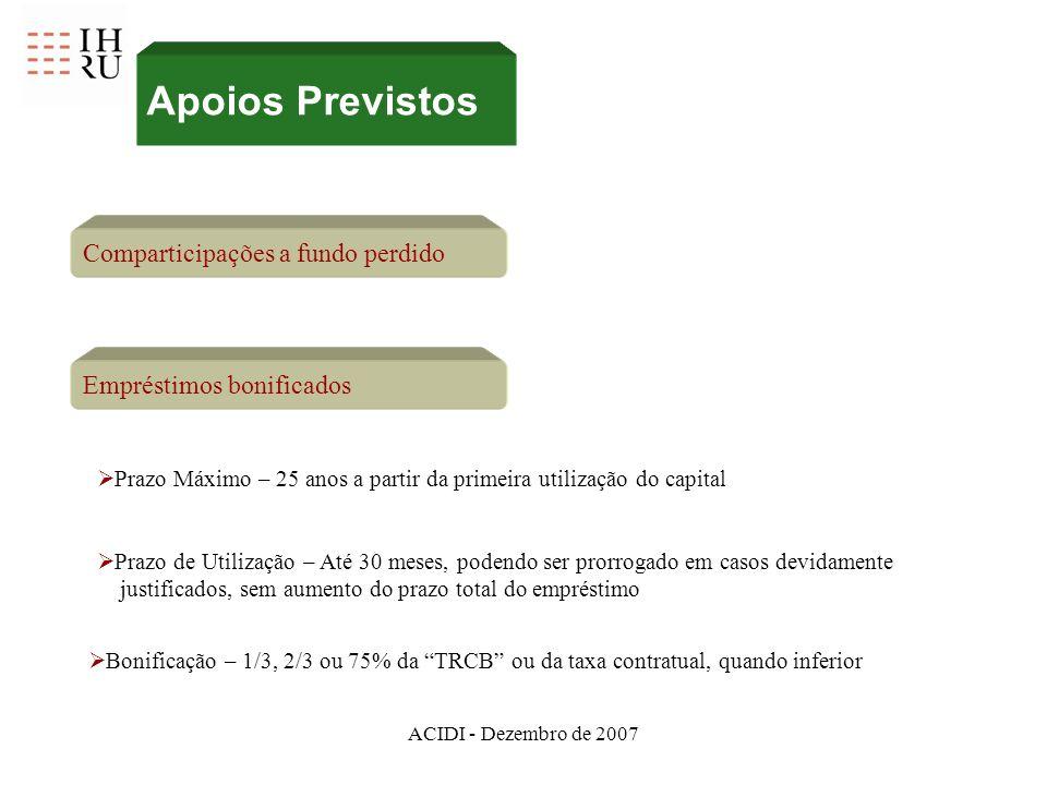 ACIDI - Dezembro de 2007 Comparticipações a fundo perdido Empréstimos bonificados Prazo Máximo – 25 anos a partir da primeira utilização do capital Pr