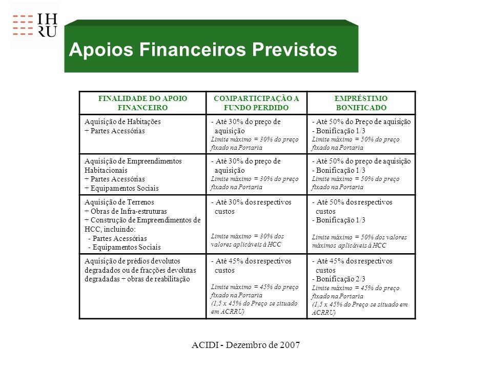 ACIDI - Dezembro de 2007 Apoios Financeiros Previstos FINALIDADE DO APOIO FINANCEIRO COMPARTICIPAÇÃO A FUNDO PERDIDO EMPRÉSTIMO BONIFICADO Aquisição de Habitações + Partes Acessórias - Até 30% do preço de aquisição Limite máximo = 30% do preço fixado na Portaria - Até 50% do Preço de aquisição - Bonificação 1/3 Limite máximo = 50% do preço fixado na Portaria Aquisição de Empreendimentos Habitacionais + Partes Acessórias + Equipamentos Sociais - Até 30% do preço de aquisição Limite máximo = 30% do preço fixado na Portaria - Até 50% do preço de aquisição - Bonificação 1/3 Limite máximo = 50% do preço fixado na Portaria Aquisição de Terrenos + Obras de Infra-estruturas + Construção de Empreendimentos de HCC, incluindo: - Partes Acessórias - Equipamentos Sociais - Até 30% dos respectivos custos Limite máximo = 30% dos valores aplicáveis à HCC - Até 50% dos respectivos custos - Bonificação 1/3 Limite máximo = 50% dos valores máximos aplicáveis à HCC Aquisição de prédios devolutos degradados ou de fracções devolutas degradadas + obras de reabilitação - Até 45% dos respectivos custos Limite máximo = 45% do preço fixado na Portaria (1,5 x 45% do Preço se situado em ACRRU) - Até 45% dos respectivos custos - Bonificação 2/3 Limite máximo = 45% do preço fixado na Portaria (1,5 x 45% do Preço se situado em ACRRU)