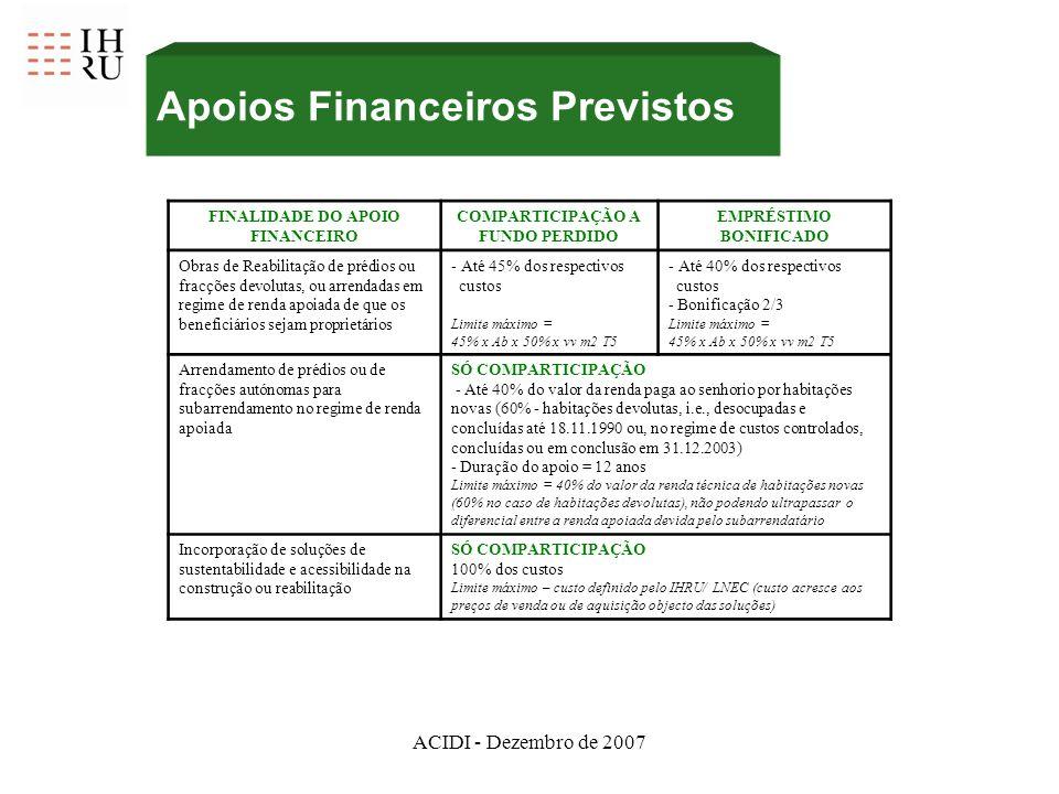 ACIDI - Dezembro de 2007 FINALIDADE DO APOIO FINANCEIRO COMPARTICIPAÇÃO A FUNDO PERDIDO EMPRÉSTIMO BONIFICADO Obras de Reabilitação de prédios ou fracções devolutas, ou arrendadas em regime de renda apoiada de que os beneficiários sejam proprietários - Até 45% dos respectivos custos Limite máximo = 45% x Ab x 50% x vv m2 T5 - Até 40% dos respectivos custos - Bonificação 2/3 Limite máximo = 45% x Ab x 50% x vv m2 T5 Arrendamento de prédios ou de fracções autónomas para subarrendamento no regime de renda apoiada SÓ COMPARTICIPAÇÃO - Até 40% do valor da renda paga ao senhorio por habitações novas (60% - habitações devolutas, i.e., desocupadas e concluídas até 18.11.1990 ou, no regime de custos controlados, concluídas ou em conclusão em 31.12.2003) - Duração do apoio = 12 anos Limite máximo = 40% do valor da renda técnica de habitações novas (60% no caso de habitações devolutas), não podendo ultrapassar o diferencial entre a renda apoiada devida pelo subarrendatário Incorporação de soluções de sustentabilidade e acessibilidade na construção ou reabilitação SÓ COMPARTICIPAÇÃO 100% dos custos Limite máximo – custo definido pelo IHRU/ LNEC (custo acresce aos preços de venda ou de aquisição objecto das soluções) Apoios Financeiros Previstos