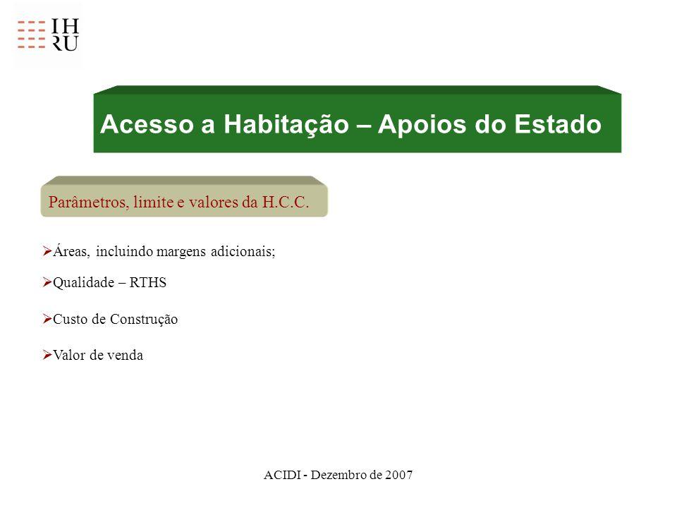 ACIDI - Dezembro de 2007 Acesso a Habitação – Apoios do Estado Parâmetros, limite e valores da H.C.C. Áreas, incluindo margens adicionais; Qualidade –