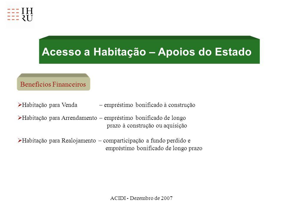 ACIDI - Dezembro de 2007 Benefícios Financeiros Habitação para Venda – empréstimo bonificado à construção Habitação para Arrendamento – empréstimo bon