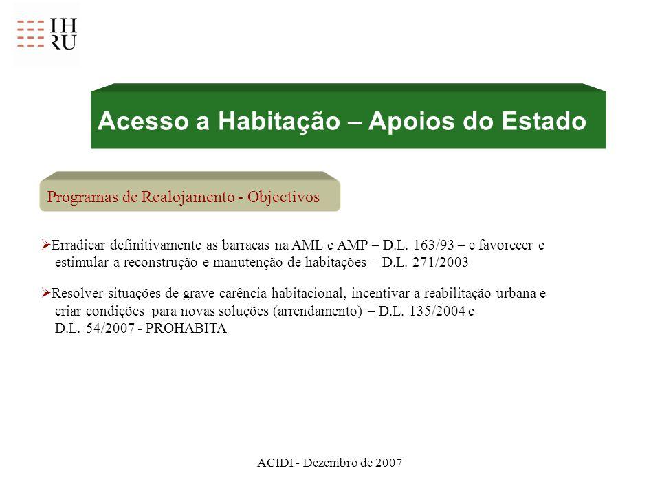 ACIDI - Dezembro de 2007 Programas de Realojamento - Objectivos Erradicar definitivamente as barracas na AML e AMP – D.L. 163/93 – e favorecer e estim