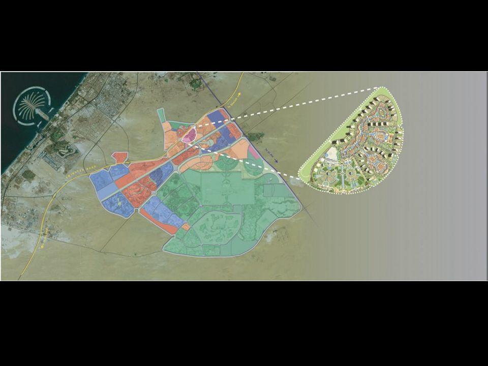 Dubailand será construído em uma área de 3 bilhões pés 2 (107 milhas^2) a um preço calculado de $20 bilhão. O local pretenderá incluir 45 mega projeto