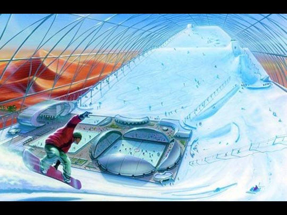 O Esqui Dubai, que já está aberto, é a maior estação de esqui em recinto fechado do mundo. Esta é uma imagem feita de outra futura estação de esquia e