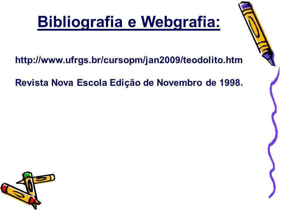 http://www.ufrgs.br/cursopm/jan2009/teodolito.htm Revista Nova Escola Edição de Novembro de 1998. Bibliografia e Webgrafia: