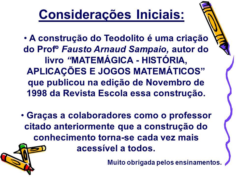 A construção do Teodolito é uma criação do Profº Fausto Arnaud Sampaio, autor do livro MATEMÁGICA - HISTÓRIA, APLICAÇÕES E JOGOS MATEMÁTICOS que publi
