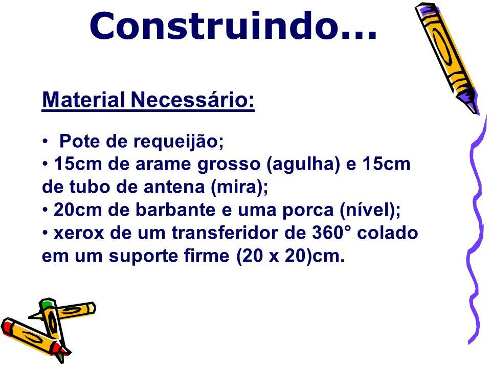 Material Necessário: Pote de requeijão; 15cm de arame grosso (agulha) e 15cm de tubo de antena (mira); 20cm de barbante e uma porca (nível); xerox de