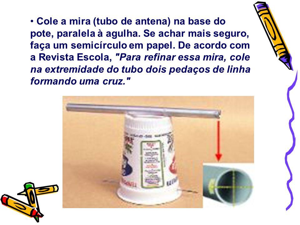 Cole a mira (tubo de antena) na base do pote, paralela à agulha. Se achar mais seguro, faça um semicírculo em papel. De acordo com a Revista Escola,