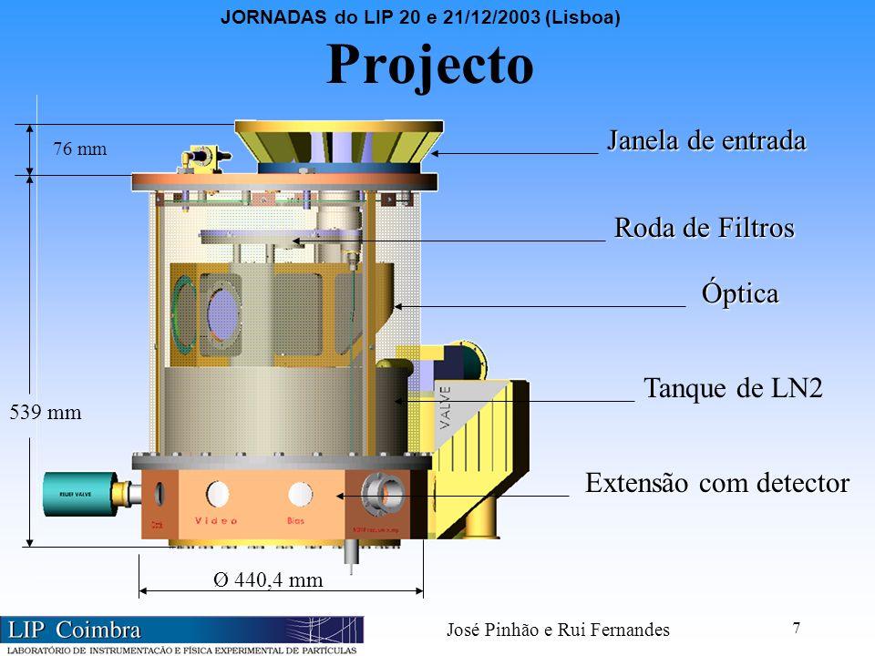 JORNADAS do LIP 20 e 21/12/2003 (Lisboa) José Pinhão e Rui Fernandes 7 Projecto Óptica Roda de Filtros Janela de entrada Extensão com detector 76 mm 539 mm Ø 440,4 mm Tanque de LN2