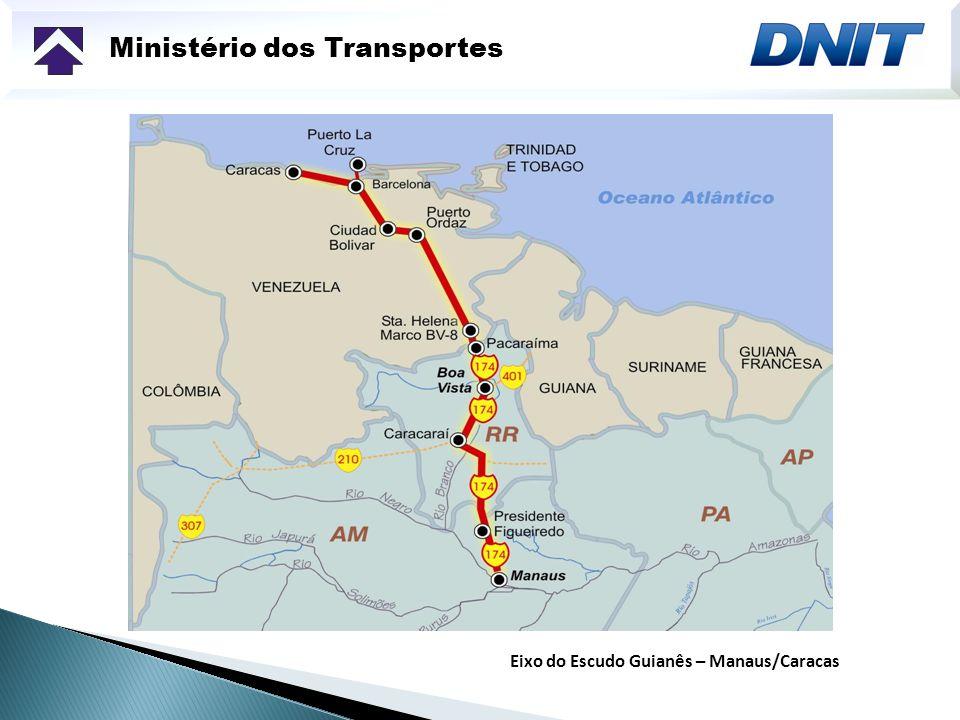Ministério dos Transportes A interconexão rodoviária do Brasil com a Venezuela dá-se no marco BV8, entre os municípios de Pacaraima e Santa Elena de Huayrén, pela BR-174 Distância entre as principais cidades: TRECHO MANAUS (AM) / PACARAIMA (RR) 970 km 2.250 km TRECHO MANAUS / CARACAS