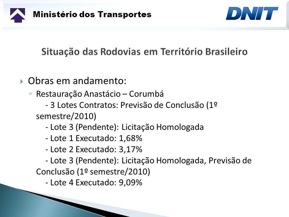 Ministério dos Transportes Obras em andamento: Restauração Anastácio – Corumbá - 3 Lotes Contratos: Previsão de Conclusão (1º semestre/2010) - Lote 3 (Pendente): Licitação Homologada - Lote 1 Executado: 1,68% - Lote 2 Executado: 3,17% - Lote 3 (Pendente): Licitação Homologada, Previsão de Conclusão (1º semestre/2010) - Lote 4 Executado: 9,09%