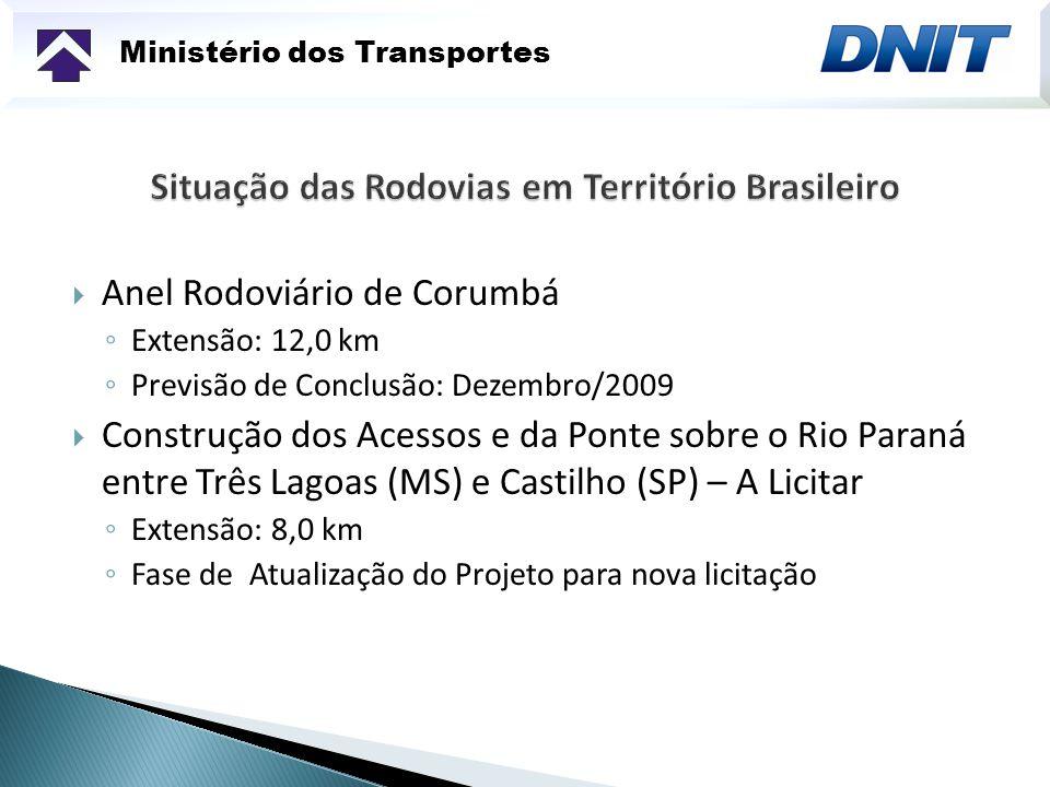Ministério dos Transportes Anel Rodoviário de Corumbá Extensão: 12,0 km Previsão de Conclusão: Dezembro/2009 Construção dos Acessos e da Ponte sobre o