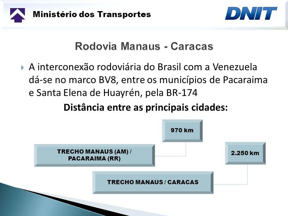 Ministério dos Transportes A interconexão rodoviária do Brasil com a Venezuela dá-se no marco BV8, entre os municípios de Pacaraima e Santa Elena de H