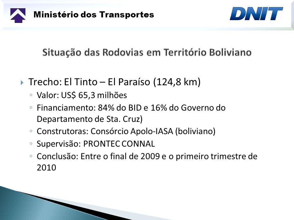 Ministério dos Transportes Trecho: El Tinto – El Paraíso (124,8 km) Valor: US$ 65,3 milhões Financiamento: 84% do BID e 16% do Governo do Departamento
