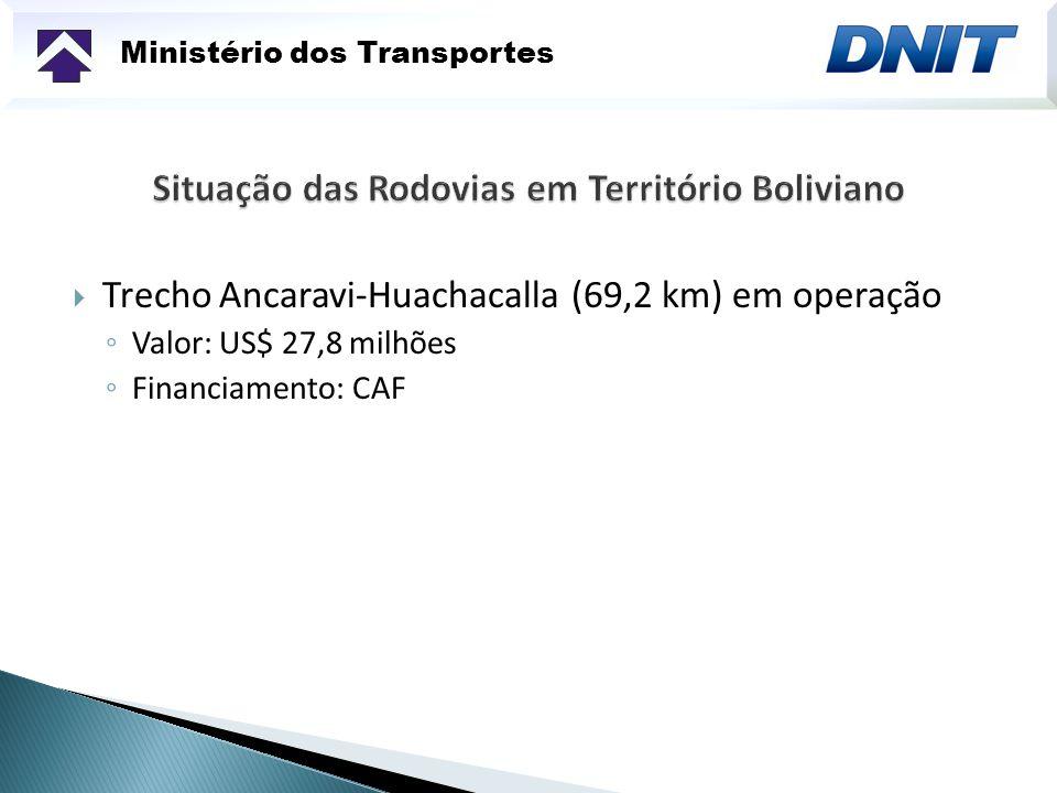 Ministério dos Transportes Trecho Ancaravi-Huachacalla (69,2 km) em operação Valor: US$ 27,8 milhões Financiamento: CAF