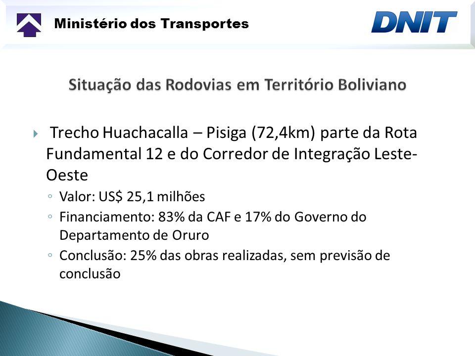 Ministério dos Transportes Trecho Huachacalla – Pisiga (72,4km) parte da Rota Fundamental 12 e do Corredor de Integração Leste- Oeste Valor: US$ 25,1