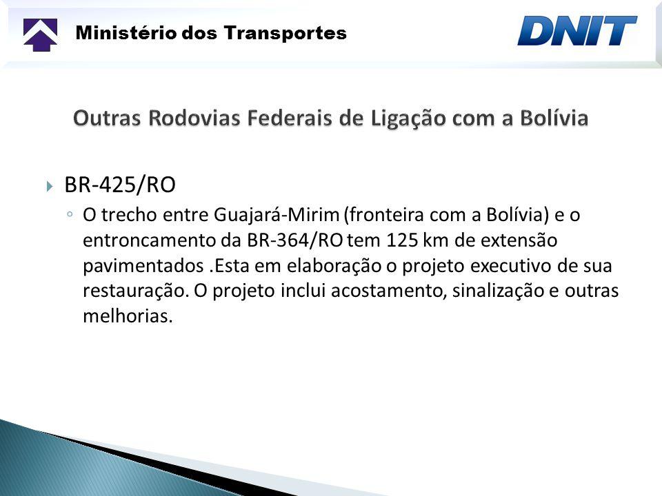 Ministério dos Transportes BR-425/RO O trecho entre Guajará-Mirim (fronteira com a Bolívia) e o entroncamento da BR-364/RO tem 125 km de extensão pavimentados.Esta em elaboração o projeto executivo de sua restauração.