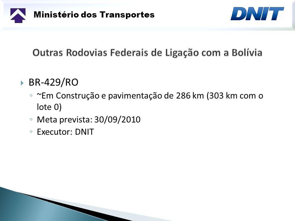 Ministério dos Transportes BR-429/RO ~Em Construção e pavimentação de 286 km (303 km com o lote 0) Meta prevista: 30/09/2010 Executor: DNIT