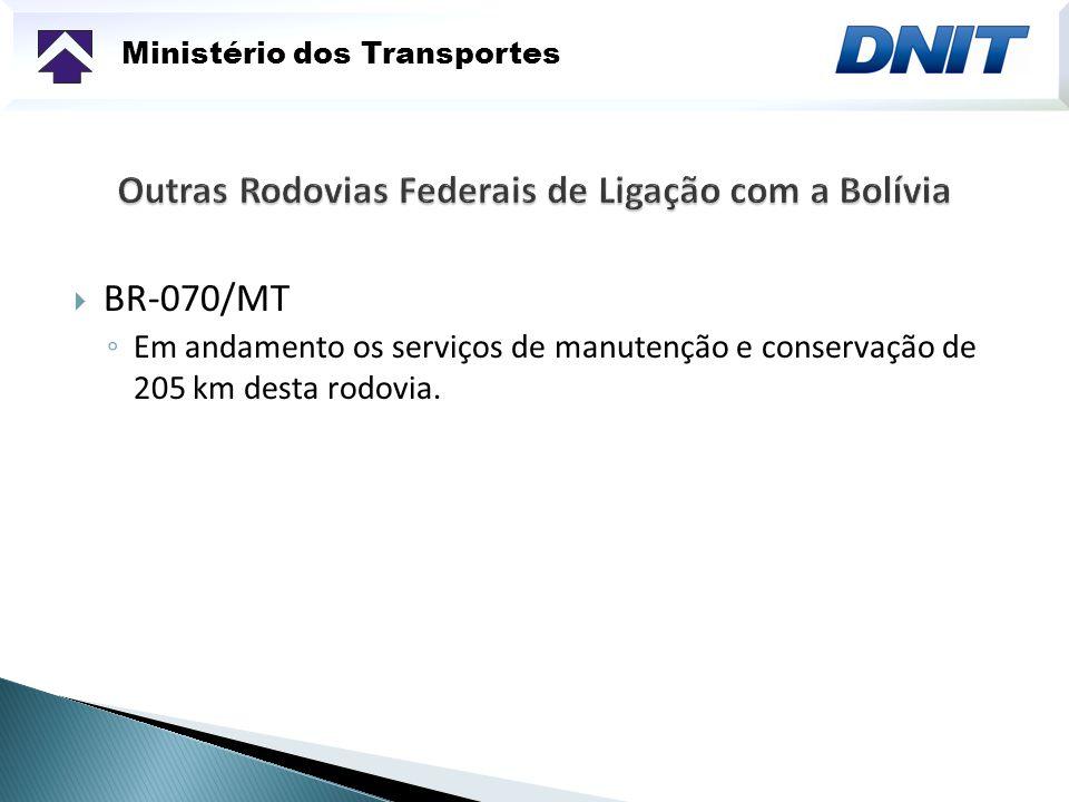Ministério dos Transportes BR-070/MT Em andamento os serviços de manutenção e conservação de 205 km desta rodovia.