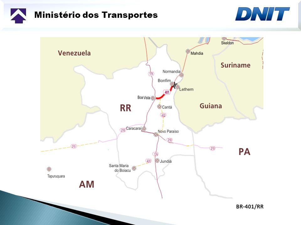 Ministério dos Transportes BR-421/RO Do km 0 (em Ariquemes) ao km 58 - trecho pavimentado; do km 58 ao km 87 – trecho pavimentado; do km 87 ao km 115 – trecho em revestimento primário; do km 115 ao km 179,0 – trecho planejado; do km 179,0 ao km 229,5, trecho implantado (em Guajará-Mirim)