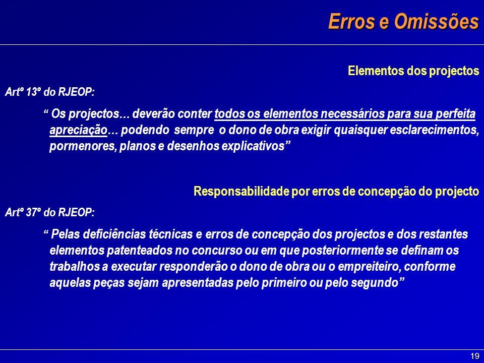19 Erros e Omissões Elementos dos projectos Artº 13º do RJEOP: Os projectos… deverão conter todos os elementos necessários para sua perfeita apreciaçã